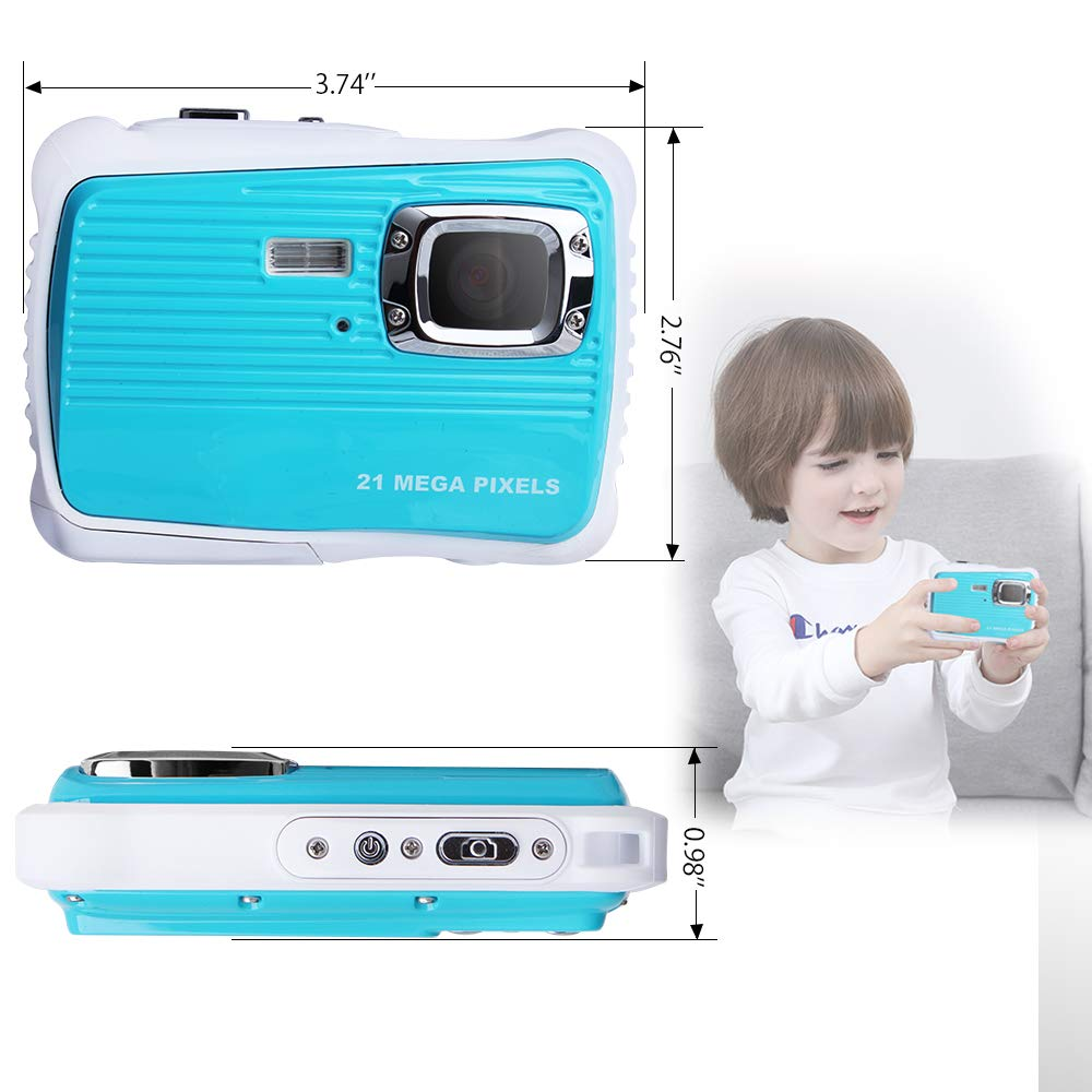 Waterproof Digital Camera Kids 8X Digital Zoom, Kids Digital Camera 21MP HD Underwater Action Camera Camcorder 2.0 inch LCD Screen, Free 16GB Memory Card by Adoreco (Image #2)