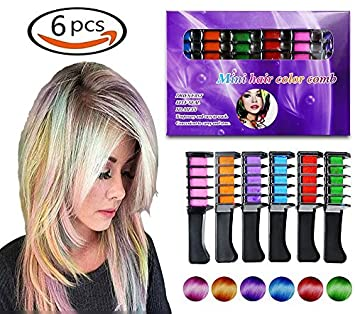 Temporary Hair Color Comb-Washable Hair Chalk for Hair Dye-Non toxic and  Safe for Kids, for Party Fans Cosplay DIY (6-color PACK)