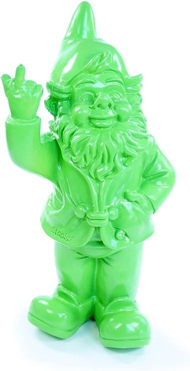 Stone-Lite Figura - Enanito de jardín haciendo la peineta - Regalo divertido - Verde - 20 cm: Amazon.es: Jardín