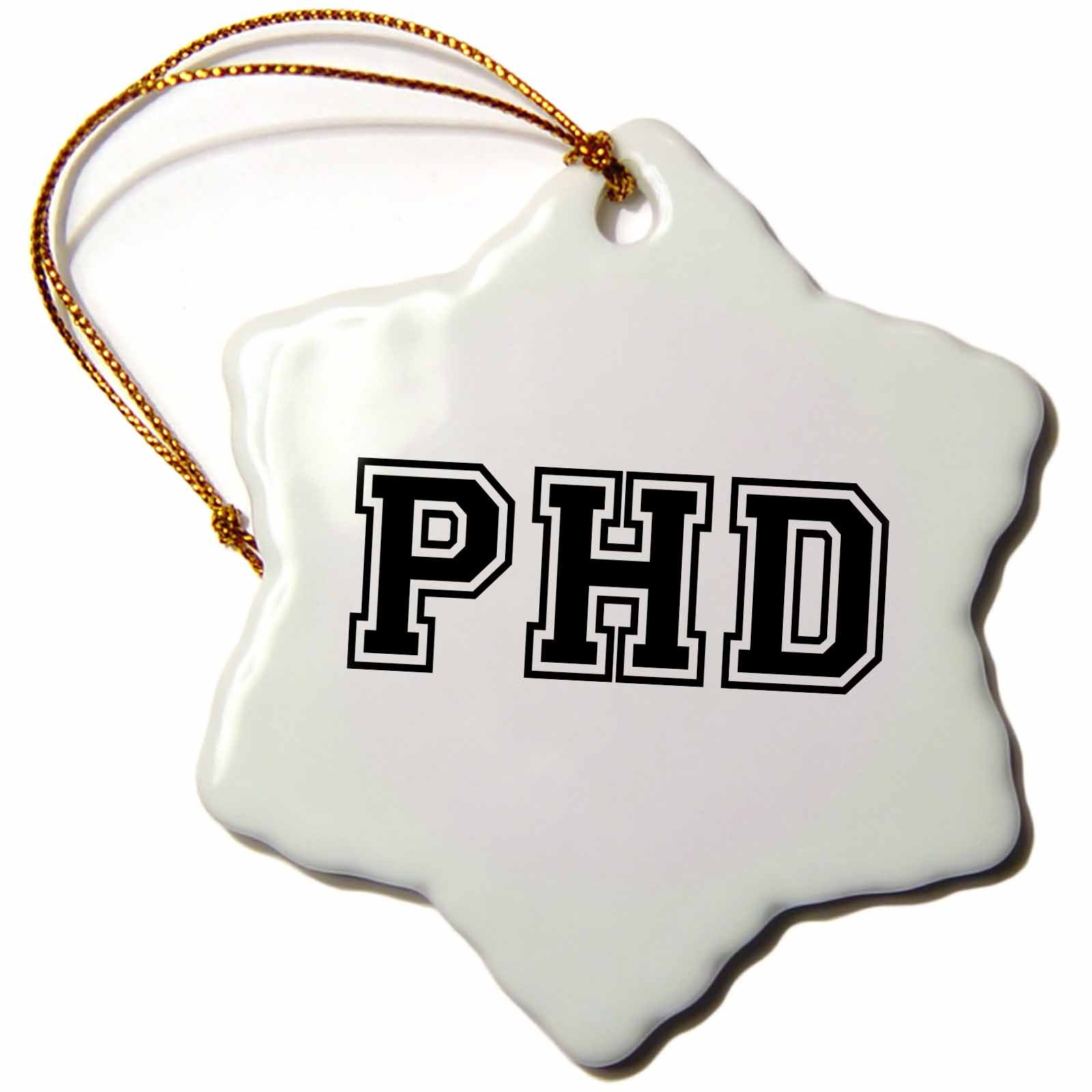 3dRose orn_151237_1 PhD-Graduate School College University Graduation Gift-Black-Doctor Graduating-Snowflake Ornament, 3-Inch, Porcelain
