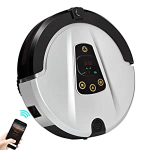 Julitech Robot Vacuum Cleaner with HD Camera, 180 ML Water Tank, Automatic Cleaning Robot with APP Control, Self-Charging, Making Cleaning Plan, Super Thin