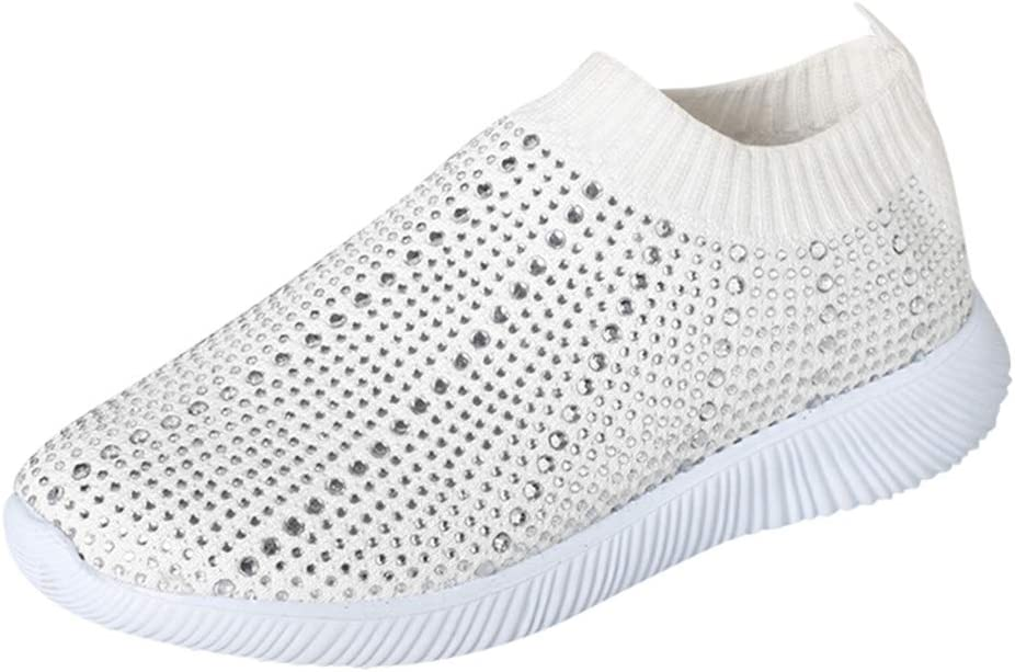 Women Hollow Out Knit Shoe HAALIFE◕‿ Casual Slip on Walking Flats Lightweight Running Athletic Sneakers Black