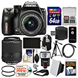 Pentax K-70 All Weather Wi-Fi Digital SLR Camera with DA 18-55mm AL WR & 55-300mm Lens + 64GB Card + Backpack + Flash + Battery + Tripod + Filters Kit