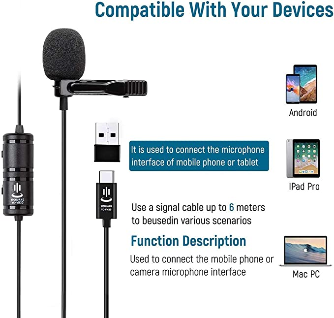 Transducer type Samsung SC-D590 Camcorder External Microphone Vidpro XM-L Wired Lavalier microphone 20 Audio Cable Electret Condenser