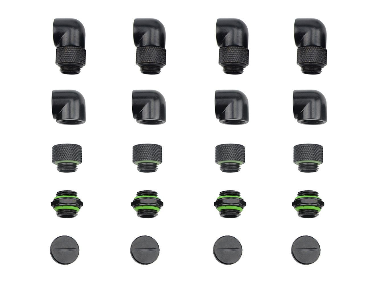 """BXQINLENX 20 PCS Silver Chrome G1/4"""" Plug Fittings for Computer Water Cooling System (Black)"""