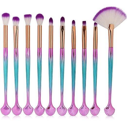 667ec91def25d Scofieldly 3D Mermaid Seashells Handles Makeup Brush Cosmetic Brushes