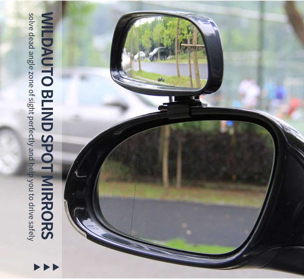 Black JMAHM 2 Piece Blind Spot Mirror Auxiliary Mirror for car Can be Adjustable or Fixed Installed Car Mirror(Left and Right)