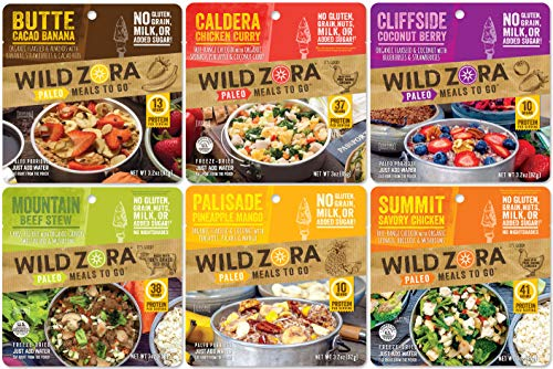 Wild Zora - Paleo Meals to Go - Variety (6-Pack) Includes Butte Cacao Banana, Caldera Chicken Curry, Cliffside Coconut Berry, Mountain Beef Stew, Palisade Pineapple Mango, Summit Savory ()