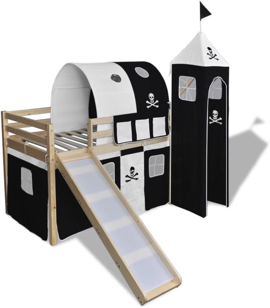 vidaXL Cama Alta Pirata para Niños con Tobogán y Escalera Madera Blanca y Negra: Amazon.es: Hogar