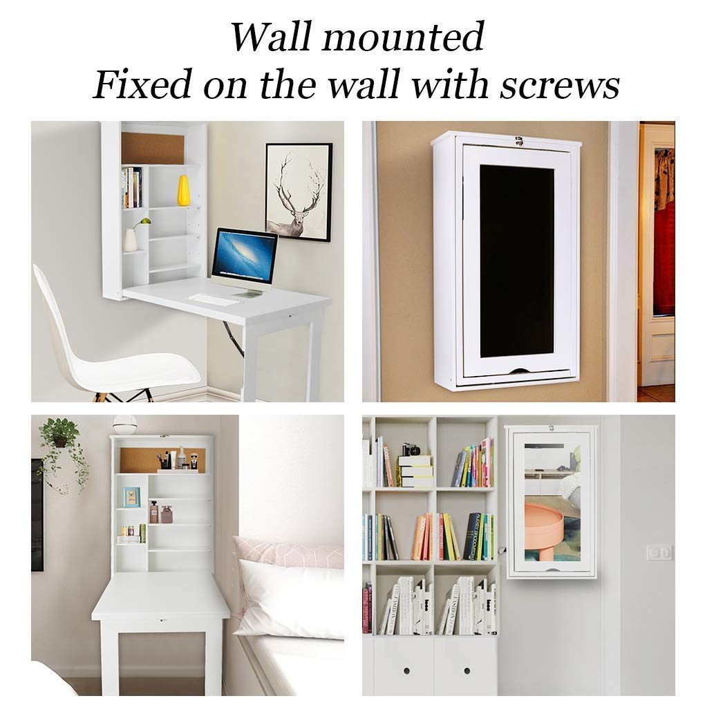 TILEMALL Fold Out Wall Mounted Convertible Writing Floating Desk - White by TILEMALL