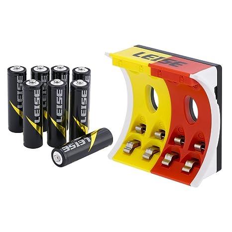 LEISE AA & AAA Cargador de Pilas Recargables, Cargador de Batería con 4 Ranuras, Cargador Rápido Inteligente Con la Batería Recargable Nº5*8 + ...