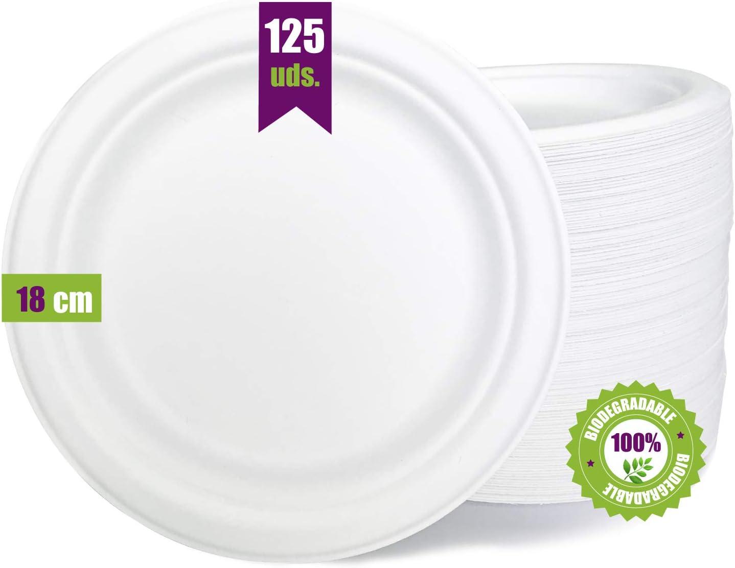 GoBeTree 125 Platos Desechables biodegradables de Papel de caña de azúcar de Ø18 cm. Vajilla desechable extrafuertes de Color Blanco. para Fiestas y picnics. Platos Redondos de bagazo.