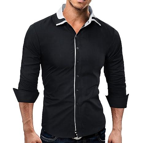 TAOtTAO - Camiseta de Manga Larga para Hombre, Color Liso, Negro ...
