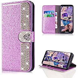 Cistor Glitter Wallet Case for Samsung Galaxy S9,Luxury Purple Love Heart Magnetic Closure Diamond Case for Samsung Galaxy S9,Shockproof PU Leather Case with Card Slot for Samsung Galaxy S9