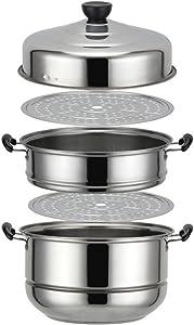 Nadalan Stainless Steel Stack Steam Pot Set Saucepot Multi-layer Boiler Cookware Pot 3 Tier (30cm)