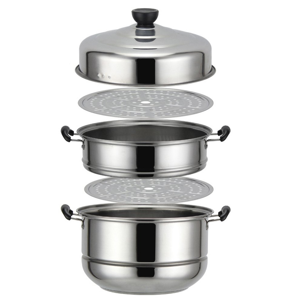 Nadalan Stainless Steel Stack Steam Pot Set Saucepot Multi-layer Boiler Cookware Pot 3 Tier (30cm)