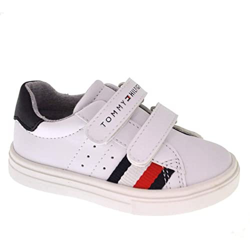 e0f2889a072482 Tommy Hilfiger T1B4-30303-0621 White Blue Eco Leather Infant Trainers   Amazon.co.uk  Shoes   Bags