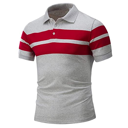 9a305763695 Pandaie Mens Blouse Shirts Men Summer Casual Stripe Buttons Collar Shirt  Short Sleeve Tee Top Blouse at Amazon Men s Clothing store