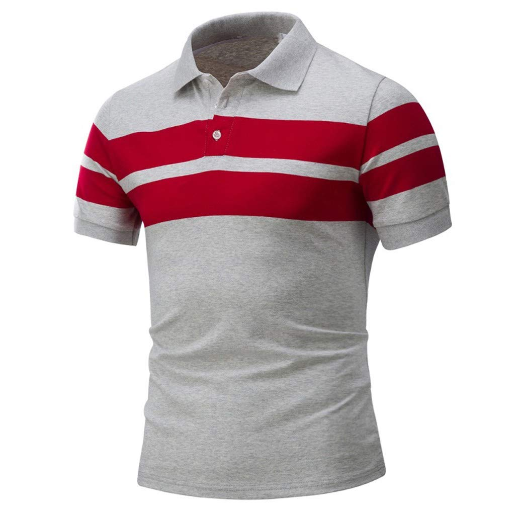 Essentials Men's Regular-Fit Striped Cotton Button Down Shirts Short Sleeve Polo Shirt Tops by Gibobby Gray