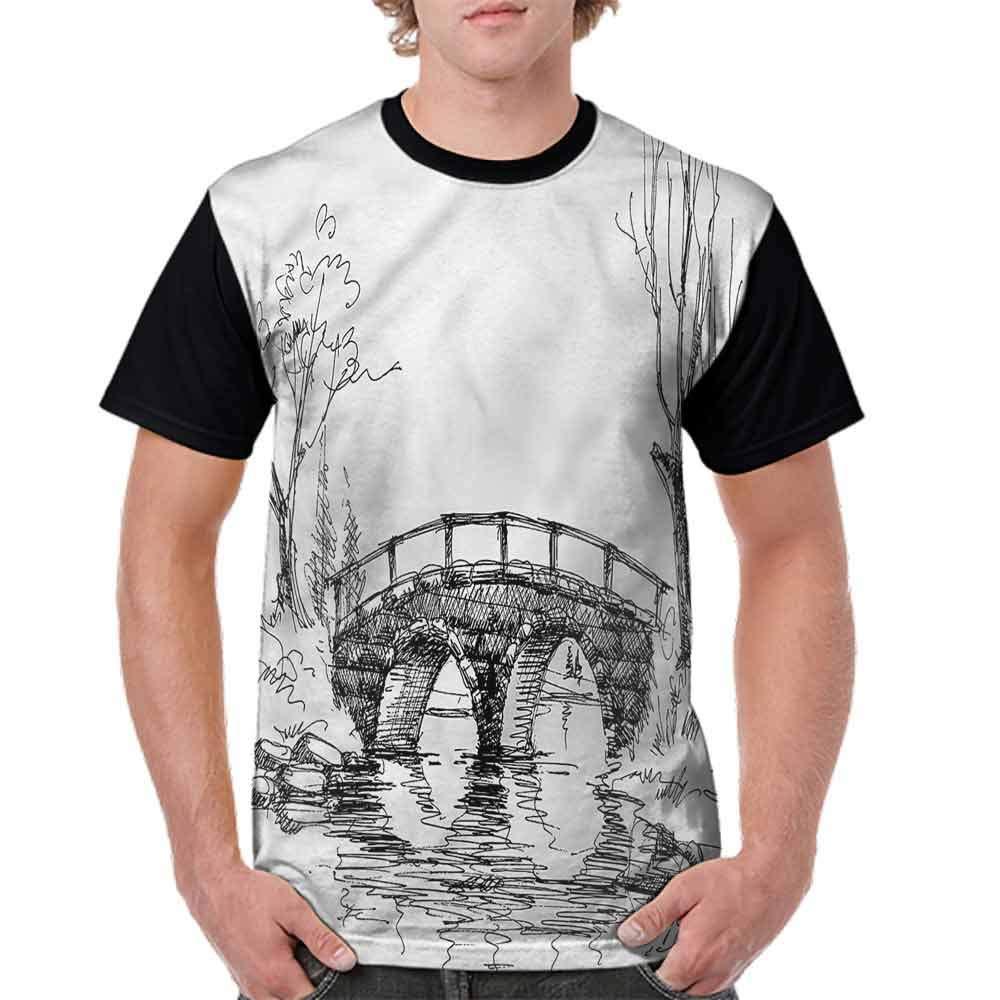 BlountDecor Loose T Shirt,Sketchy Portraits Wildlife Fashion Personality Customization