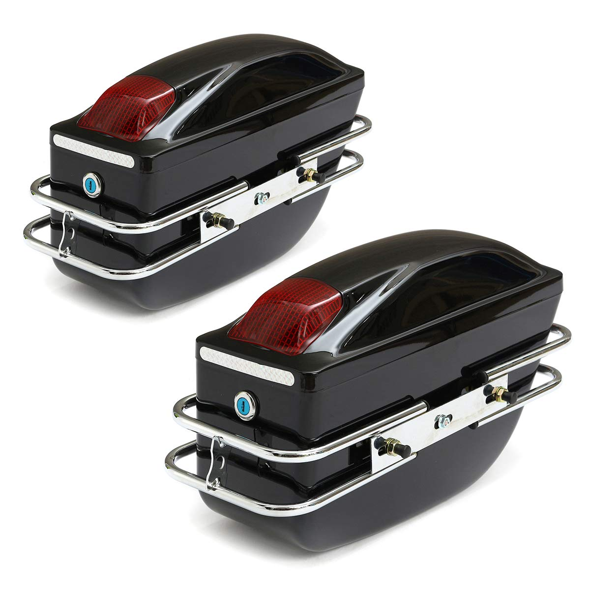 Universal Motorcycle Side Boxes Luggage Bag Tank Hard Case Saddle Bags Cruiser Light Black