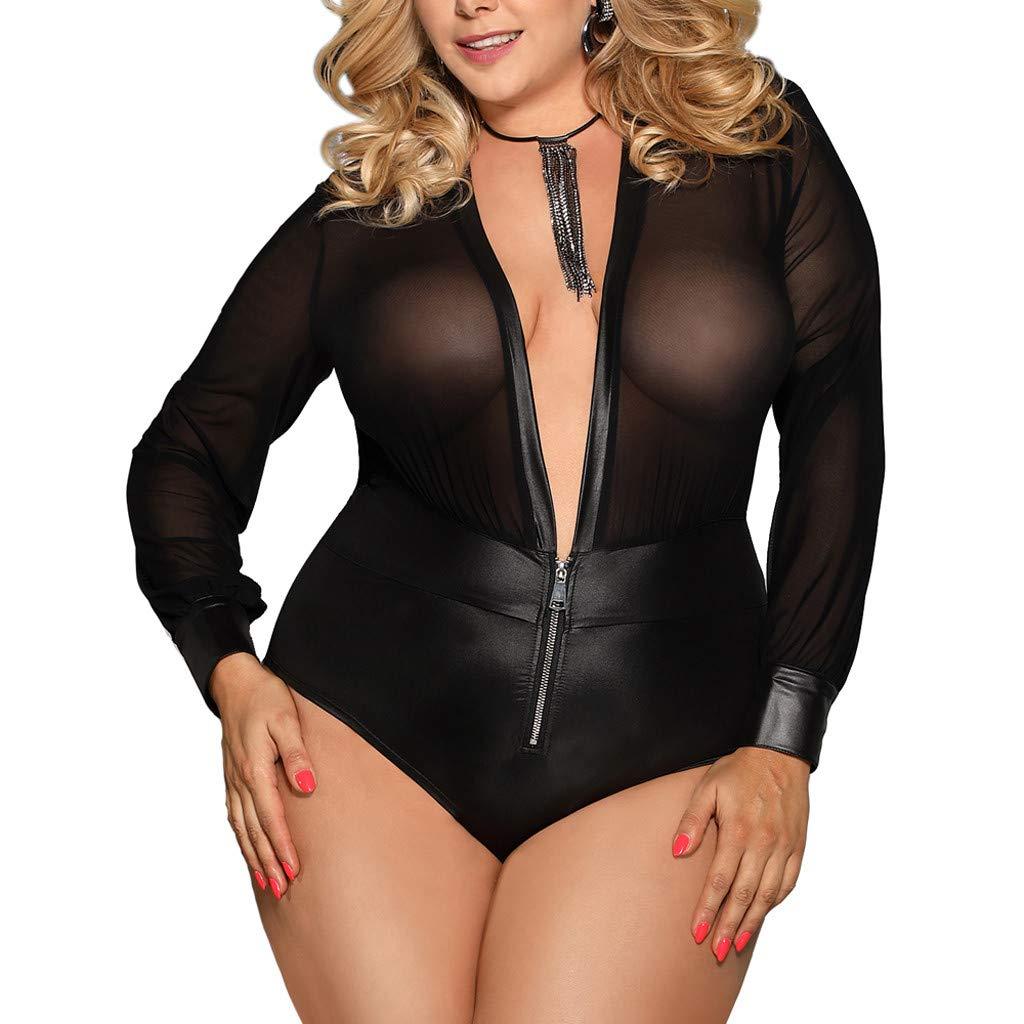 Alalaso Mujeres Lencería De Cuero Vendaje Body Camisón Vestido Negro Con Cordones Ropa Interior Erótica