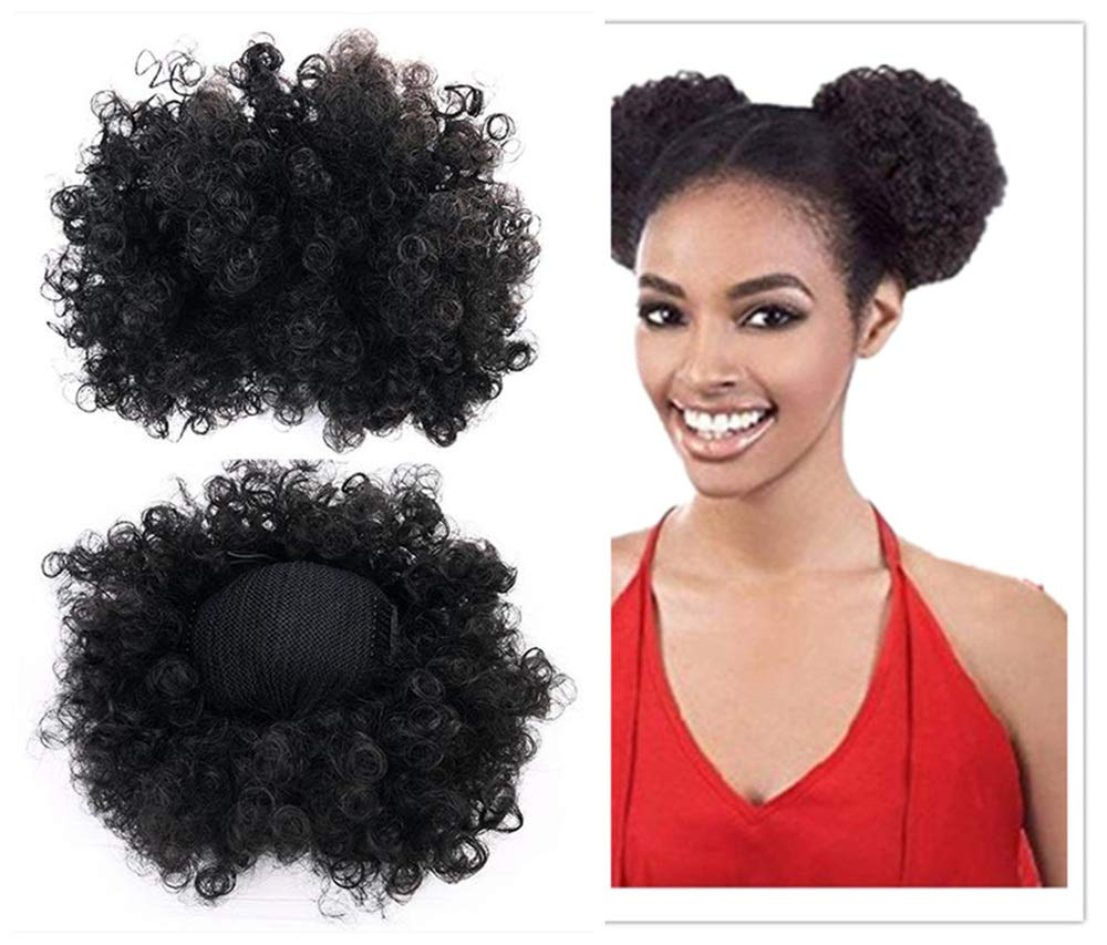 2PC Women Black African American Short Hair buns Afro Kinky Curly Updo Ponytail wig