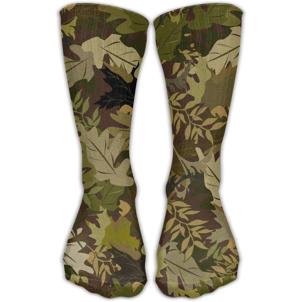 SARA NELL Women Lady Girls Classics Crew Socks Camouflage Leaves Personalized Athletic Dress Socks 30cm Long-All Season