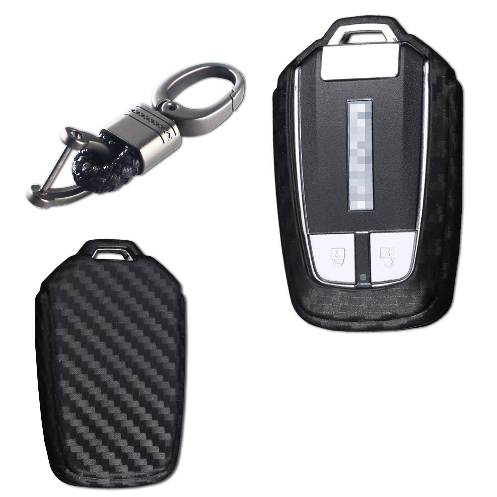 TurningMax Keyless Entry Remote Case Key Fob Cover Carbon Fiber Looks Style Soft Silicone Holder Shell with Black Braid Key Chain for Isuzu MUX MU-X D-MAX DMAX Smart Remote Key