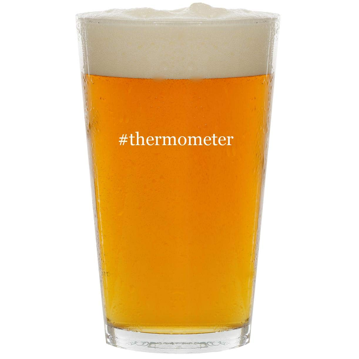 #thermometer - Glass Hashtag 16oz Beer Pint