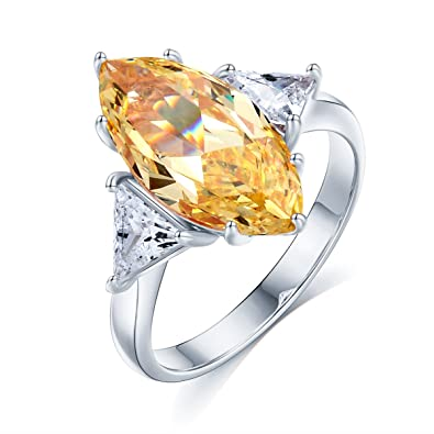 Sego Alchemy Marquise Cut Aaa Yellow Cubic Zirconia Stone Sterling