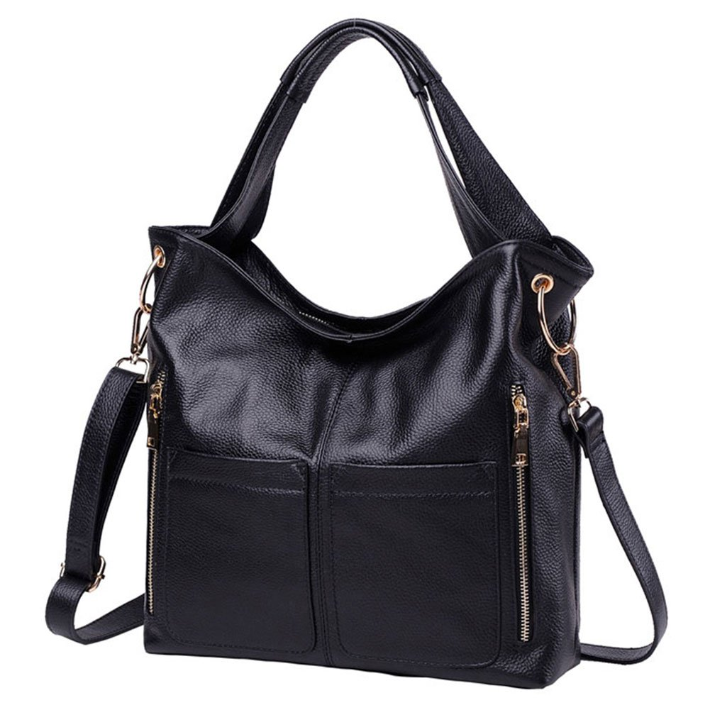 Vintga Women's Genuine Leather Handbags Top Handle Satchel Handbag Designer Purse Tote Shoulder Crossbody Bag for Women (Black) by Vintga