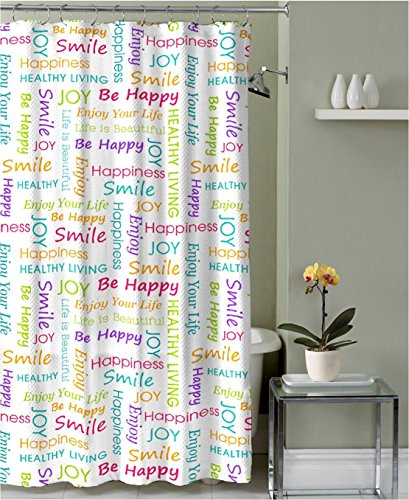 Healthy Happy Joy Fabric Shower Curtain: Colorful Inspirational Word Design