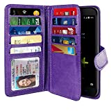 NEXTKIN Case Compatible with ZTE Blade Z Max Z982/ Sequoia, Leather Dual Wallet Folio TPU Cover, 2 Large Pockets Double flap, Multi Card Slots Snap Button Strap For Blade Z Max Z982 - Purple