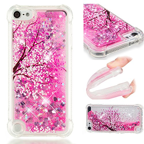 (iPod 5 Case, iPod 6 Case, Tznzxm Fashion Cartoon Design Glitter Liquid Floating Bling Sparkle Quicksand Case for Girls Children Shockproof Protection Bumper for iPod Touch 5 6th Generation Tree)