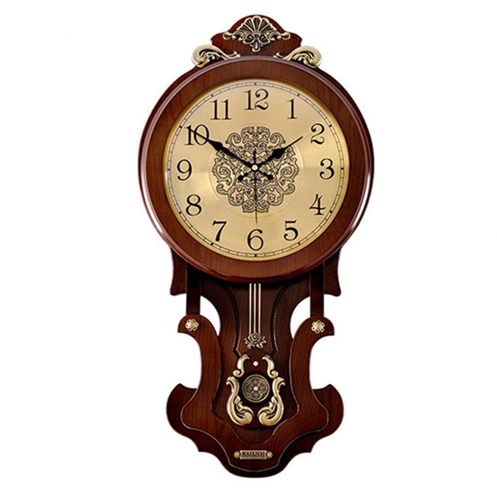 雰囲気創造的な傾向クォーツ時計時計の壁時計居間ヨーロッパのレトロなソリッドウッド中国のスタイルハンギングテーブル振り子 (色 : B) B07DGBXYJ5 B B