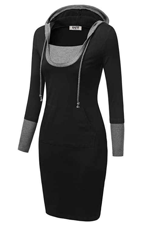Women Mini Sweater Dresses Women 3 4 Long Sleeve Hooded Sweatshirt Dresses Women