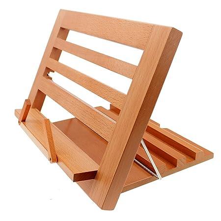 Halovie soporte para libro Tablet iPads Book Holder Atril de lectura ajustable y plegable de madera, 34.3*23.8*2cm