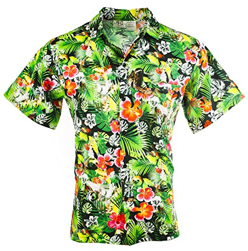 Funny Guy Mugs Mens Sloth Hawaiian Print Button Down Short Sleeve Shirt, Large -