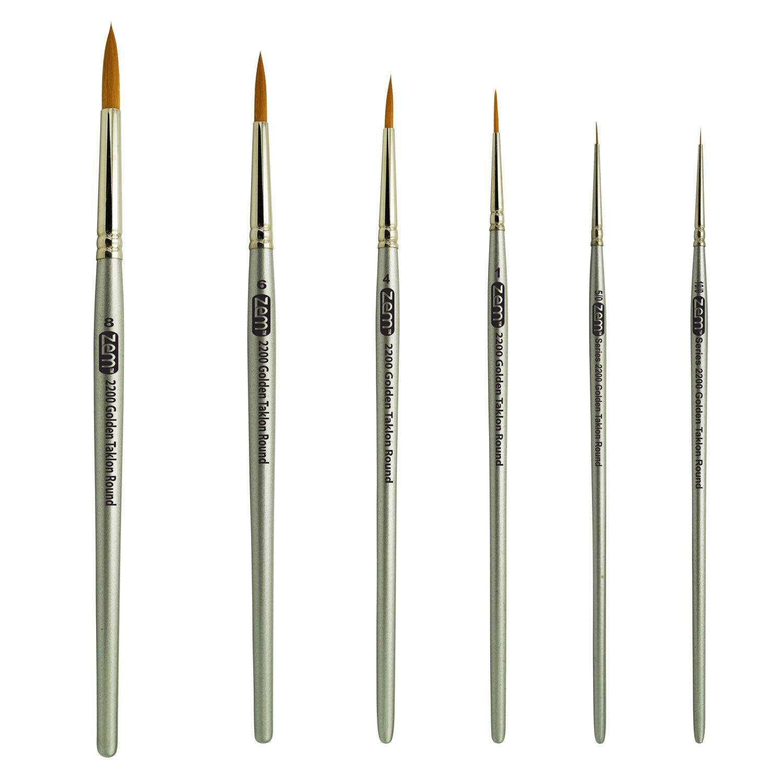 ZEM BRUSH Golden Taklon Short Handle Detail and Rounds Artist Brush Set Sizes 10/0, 5/0, 1, 4, 6, 8