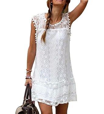 6f63670a35e71 HAPPYSS Mode Elegant Chic Sexy Ete Femme Robe de Soirée Blanche Robe  Dentelle Col Rond Sans