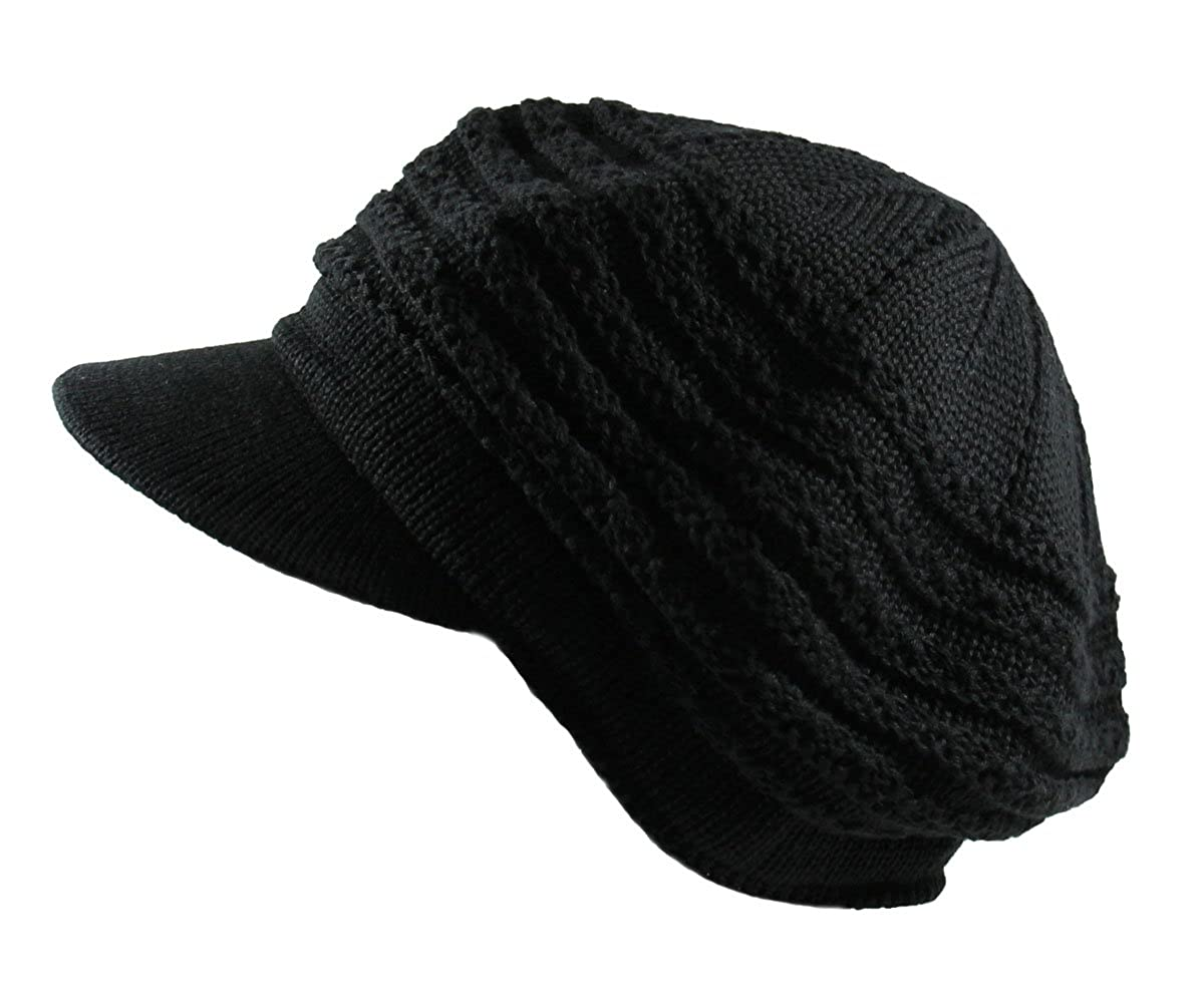 Knit Cable Slinky Newsboy Hat