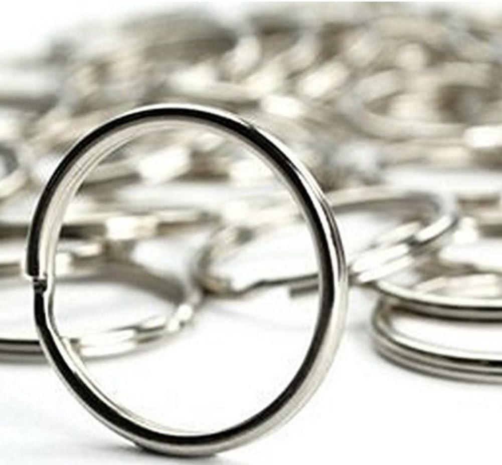 0.8 Inches, 100PCS Ocharzy Silver Steel Round Edged Keychain Keyrings Nickel Plated Steel Heat Treated Split Key Rings