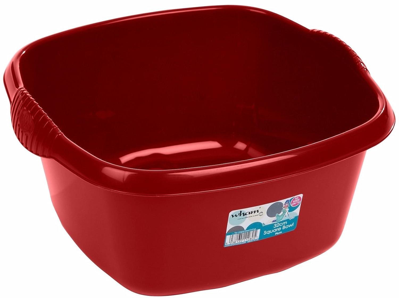 32cm Plastic Square Washing Up Bowl Sink Tidy Basin Mixing Kitchen Caddy Dessert Serving Bowls (Mocha) Funky Gadgets