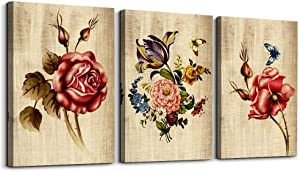 flowers watercolor Canvas Prints Wall Art Paintings, inspiration Home decoration Wall Artworks Pictures for Living Room Bedroom Decoration, 12x16 inch/piece, 3 Panels Home bathroom Wall decor mural