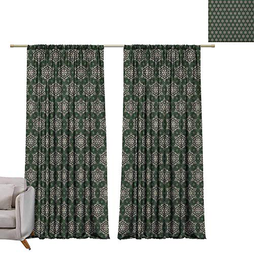 berrly Blackout Curtain Panels Vintage,Abstract Floral Motifs Mosaic Tile Pattern with Leaf Ornaments Old Fashioned, Dark Green Beige W84 x L84 Art Grommet Window - Mosaic Outdoor Furniture Tiffany