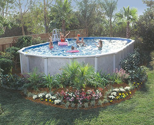 GSM 18' x 33' Oval Vero Beach Above Ground Pool Package, ...