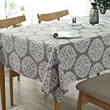 Lahome Medallion Floral Tablecloth - Cotton Linen Table Cover Kitchen Dining Room Restaurant Party Decoration (Rectangle - 55'' x 86'', Gray)