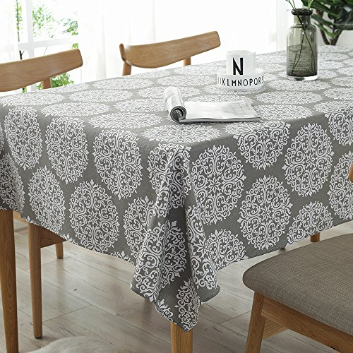Lahome Medallion Floral Tablecloth - Cotton Linen Table Cover Kitchen Dining Room Restaurant Party Decoration (Rectangle - 55