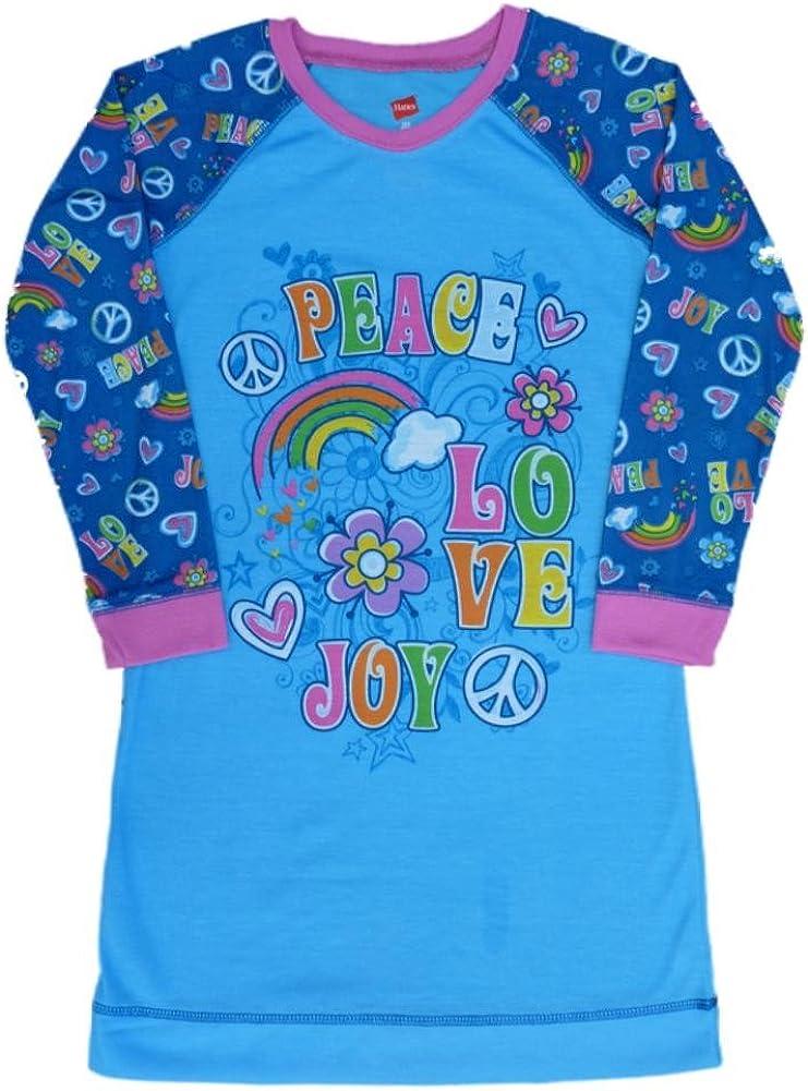 Hanes Girls Blue Peace Love Joy Night Gown Long Sleeve Nightie